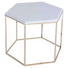 T178/H Hexagonal Tall Coffee Table with Gold Base and Marble Top by Zanaboni