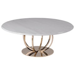 T179/G Coffee Table with Gold Base Finish and Estremoz Marble Top by Zanaboni