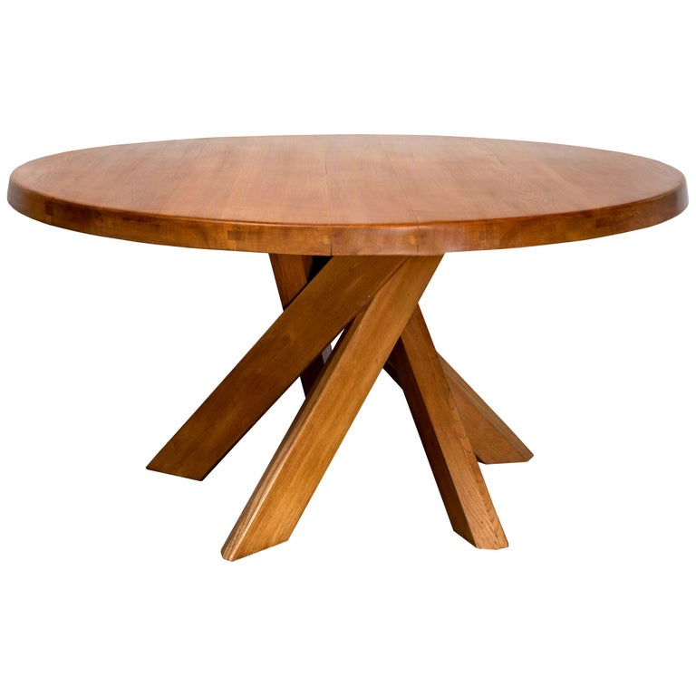 T21D Elmwood Dining Table by Pierre Chapo For Sale