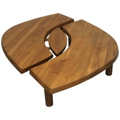 """T22C"" Solid Elm Coffee Table by Pierre Chapo"