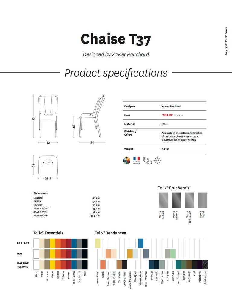 T37 Chair in Pop Colors by Xavier Pauchard and Tolix For Sale 1