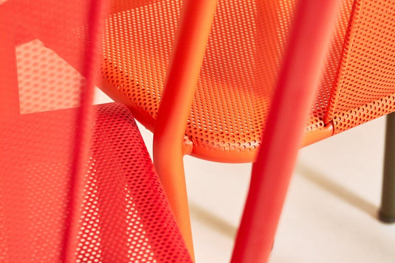 French T37 Chair Perforated in Pop Colors by Xavier Pauchard and Tolix For Sale