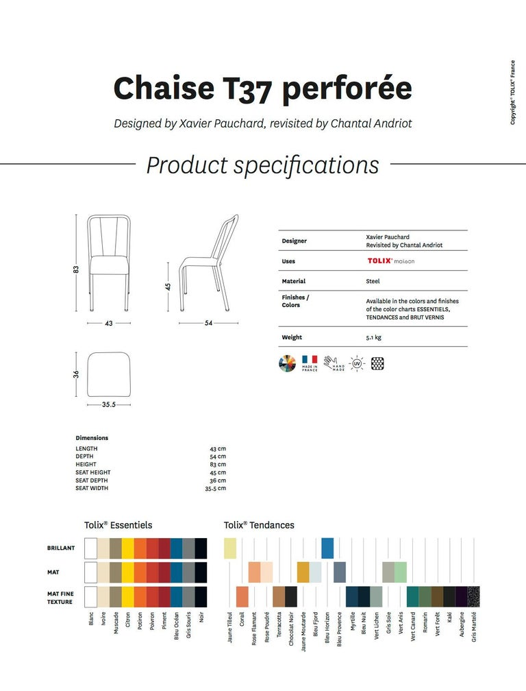 T37 Perforated Chair in Essential Colors by Xavier Pauchard and Tolix For Sale 11