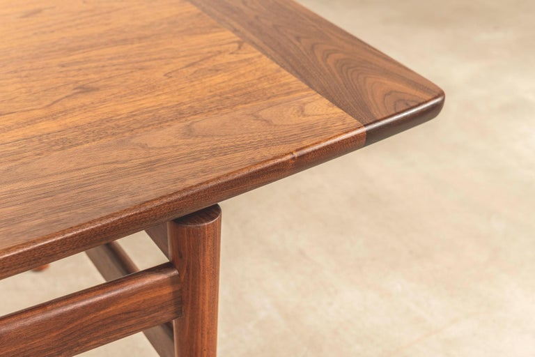 Modern T390 Low Table with Magazine Rack in Walnut by Jens Risom For Sale