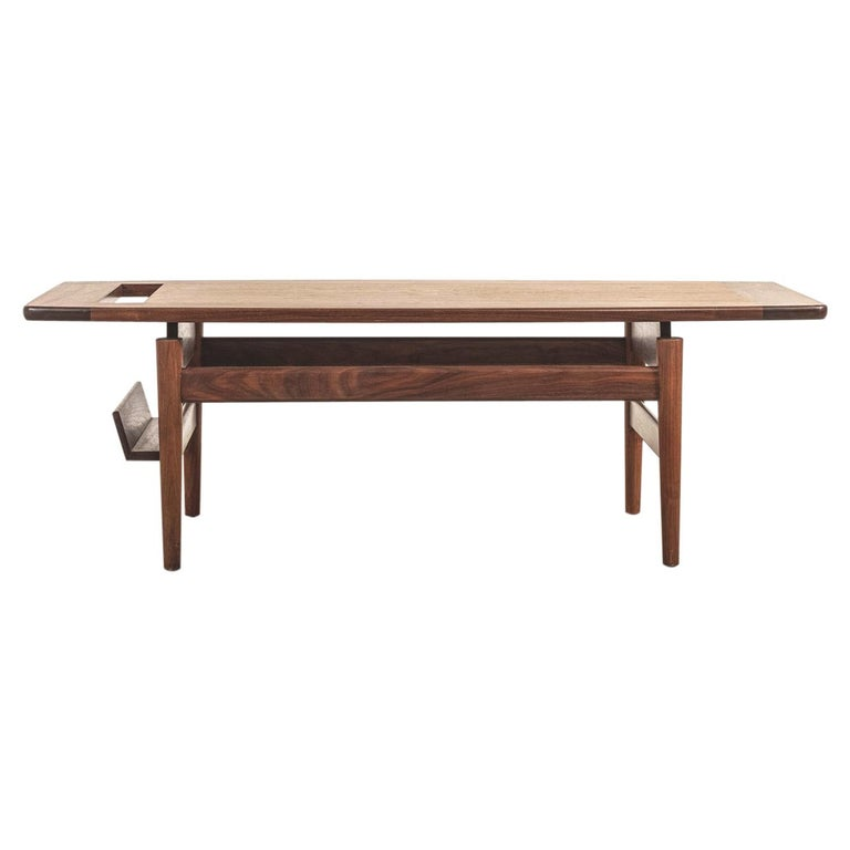 T390 Low Table with Magazine Rack in Walnut by Jens Risom For Sale