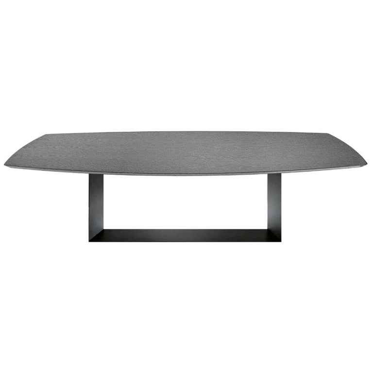In stock in Los Angeles, T5 Grey Ceramic and Metal Dining Table, Made in Italy For Sale