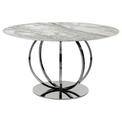 T78 Dining Table with Nickel Finish and Calacatta Oro Marble Top by Zanaboni