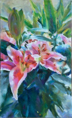 Chinese Contemporary Art by TA RUI - Pink With Green