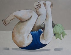 Lady stretching, Painting, Oil on Canvas