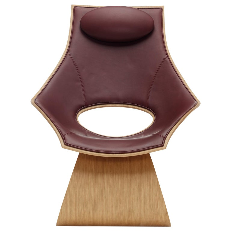 For Sale: Red (Sif 93) TA001P Dream Chair with Cushion in Oiled Oak by Tadao Ando