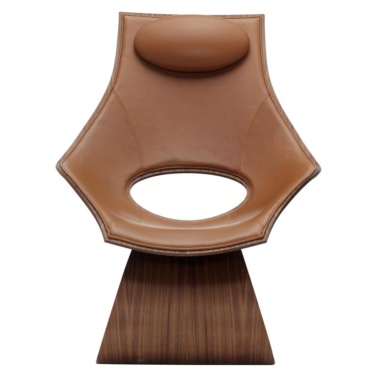 For Sale: Brown (Sif 95) TA001P Dream Chair with Cushion in Walnut Oil by Tadao Ando