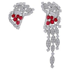 Tabah of Switzerland 18 Karat White Gold Ruby and Diamond Earrings
