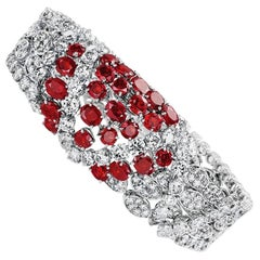 Tabah of Switzerland Vintage 1960s Ruby Diamond White Gold Bracelet