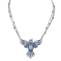 Tabbah 18 Karat White Gold Sapphires and Diamond Hummingbird Necklace