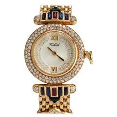 Tabbah 'Beret' Ladies 18 Karat Gold Diamond, Ruby, and Emerald Wristwatch