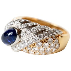 Tabbah Ring in 18 Karat Yellow Gold and Platinum Cabochon Sapphire and Diamonds