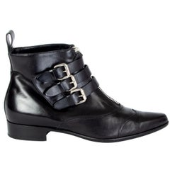 TABITHA SIMMONS black leather EARLY Ankle Boots Shoes 39.5