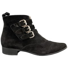 TABITHA SIMMONS Size 10 Black Suede Straped EARLY Ankle Boots