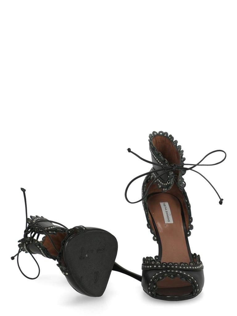 Women's Tabitha Simmons Women  Sandals Black Leather IT 40 For Sale