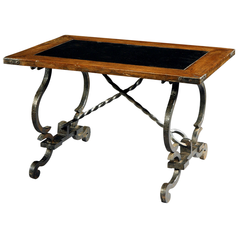 Table, 18th Century, Swiss, Baroque Oak Top, Slate