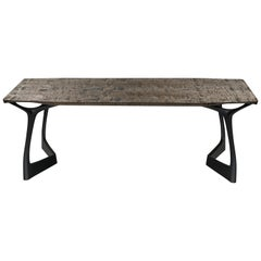 Table #2, Sculptural Dining Table, Tiger Maple & Hand-Carved Sapele Wood