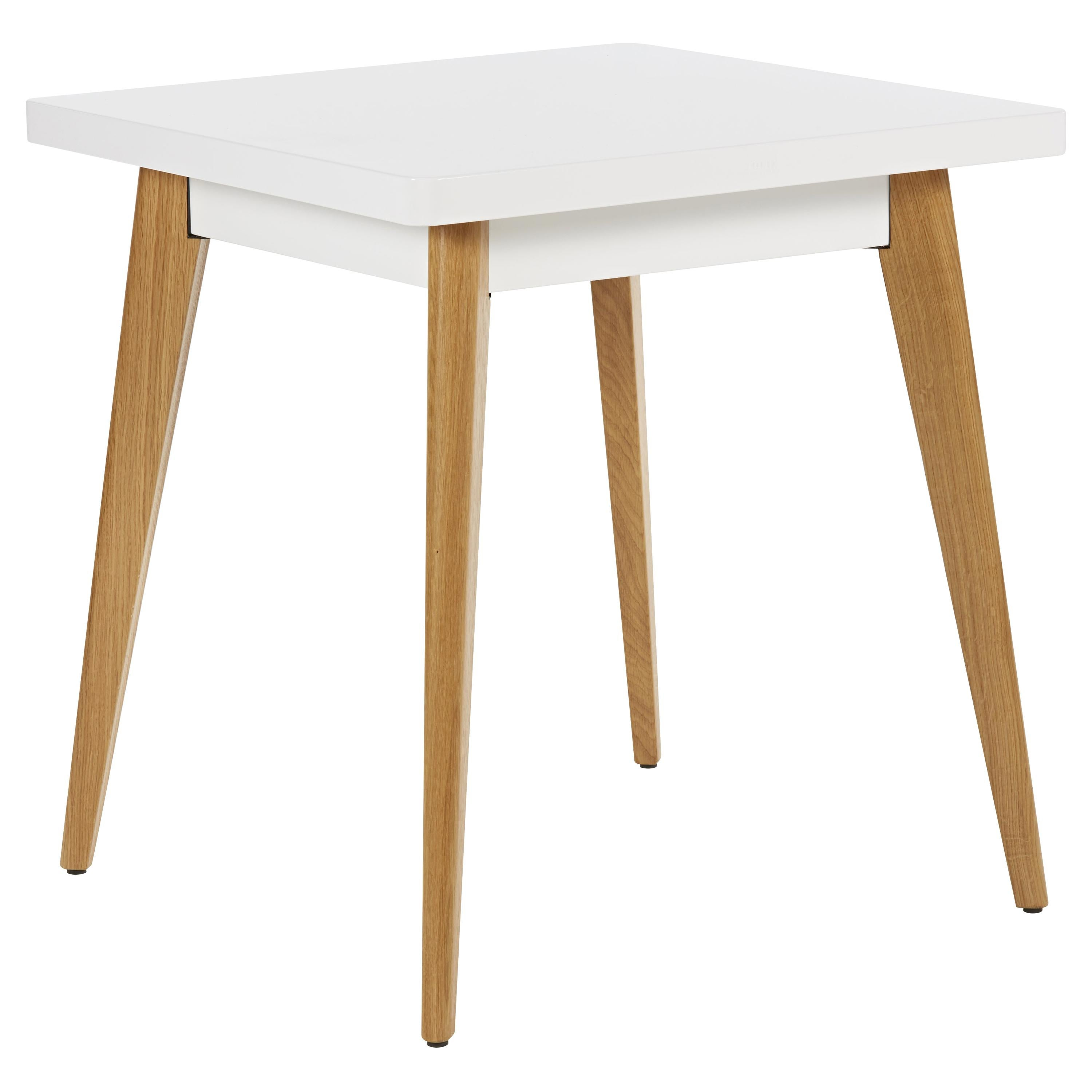 Table 55 70x70 Outdoor in White with Wooden Legs by Tolix, US