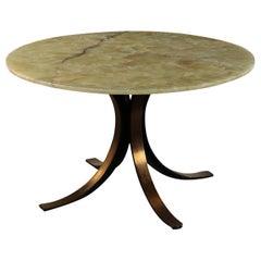 Table, Aluminum and Onyx Osvaldo Borsani, Italy, 1960s-1970s