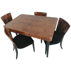 Table and Four Art Deco Chair by J. Halabal from 1940