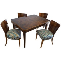 Table and Four Art Deco Chair by J. Halabal from 1960