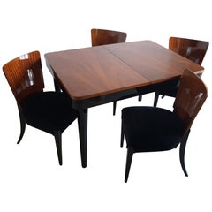 Table and Four Art Deco Chair Walnut by J. Halabal from 1940