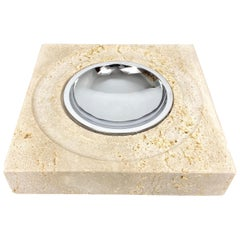 Table Ashtray Vide-Poche Travertine Marble Fratelli Mannelli, Italy, 1970s