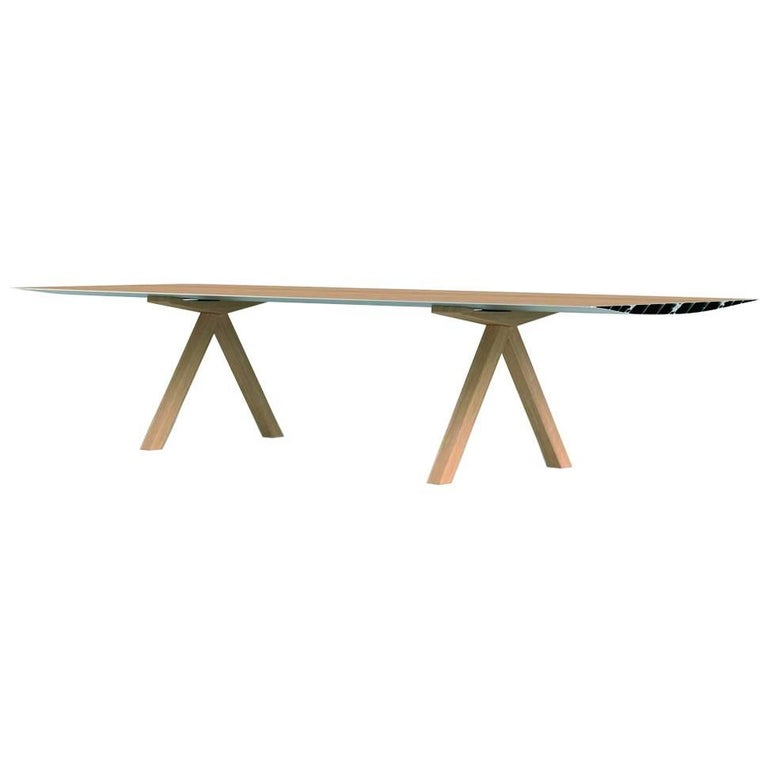 Table B, 360 cm with wooden legs - Top laminated For Sale