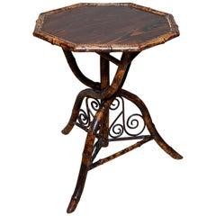 Table Bamboo Pine Faux Tortoishell Tripod Octagonal, 19th Century