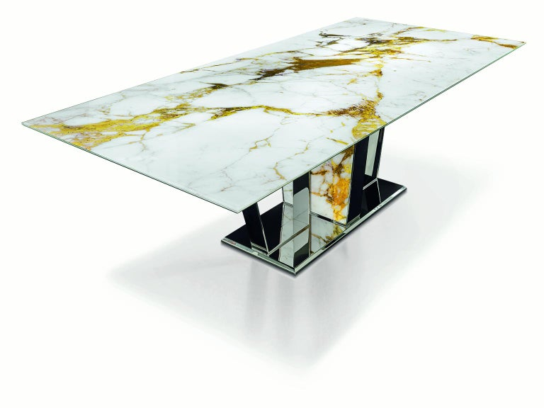 Italian Table Base and Top Frame in Polished Stainless Steel Antique Finish Top Vetrite For Sale