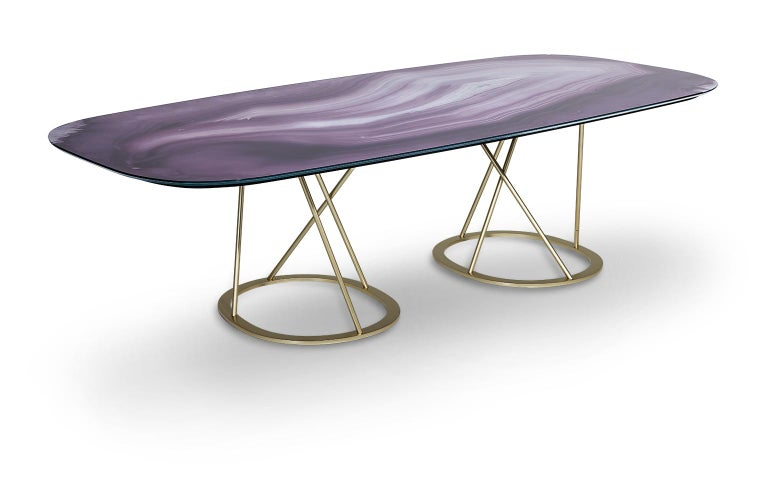 Other Table Base and Top Frame Polished Stainless Steel Antique Bronze Finish For Sale