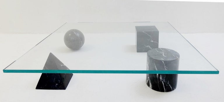 Table Basse 'Metaphora' Massimo & Lella Vignelli En Marbre Et Verre, 1970.