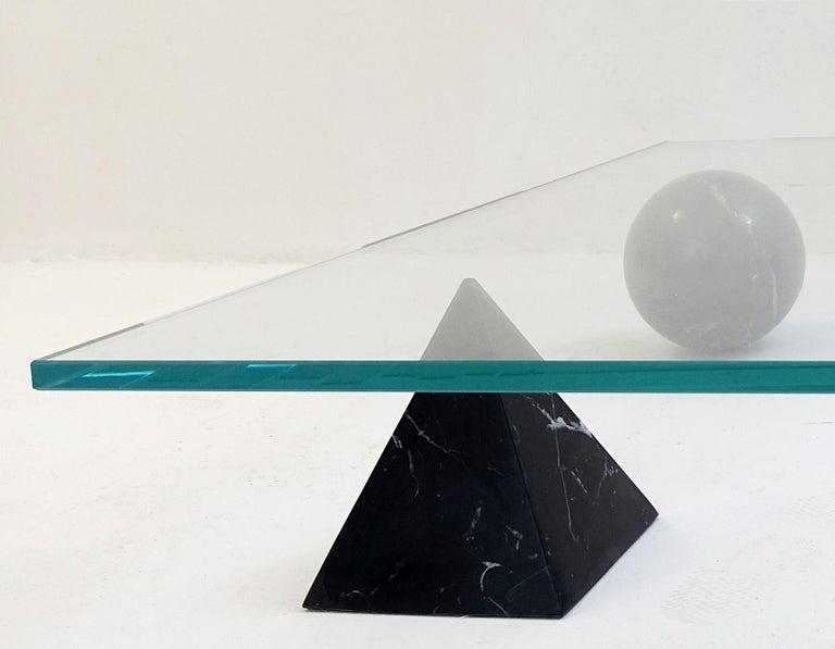 Mid-Century Modern Table Basse 'Metaphora' Massimo & Lella Vignelli En Marbre Et Verre, 1970 For Sale