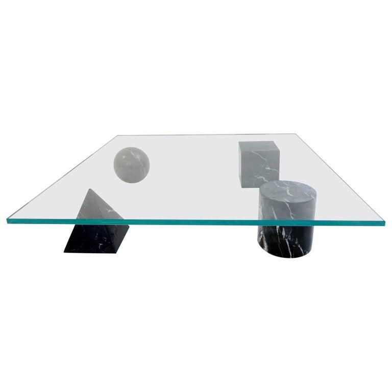 Table Basse 'Metaphora' Massimo & Lella Vignelli En Marbre Et Verre, 1970 For Sale
