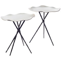 Table Belles de Nuit in Enameled Sandstone and Forged Iron