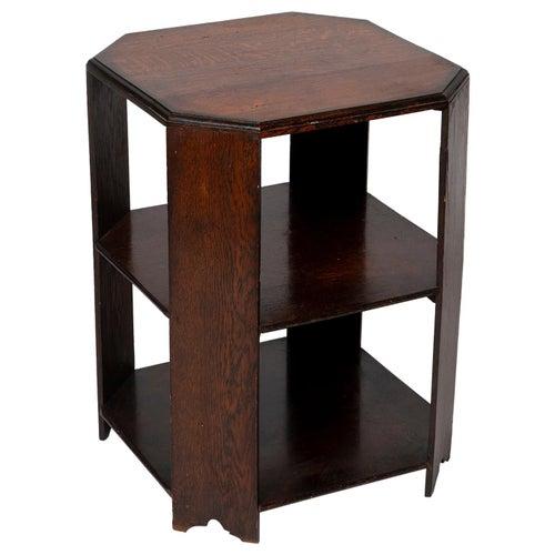 Table Book End Center Arts & Crafts Two Tier Heals Oak Small Octagonal Oak