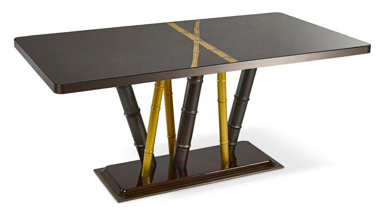 Italian Table Bronze Leaf Glass Top Decorative Mosaic Insert Brass Legs Glossy Ebony For Sale