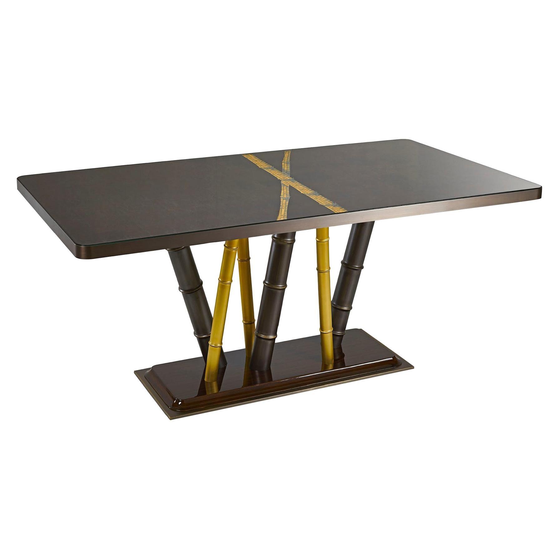 Table Bronze Leaf Glass Top Decorative Mosaic Insert Brass Legs Glossy Ebony