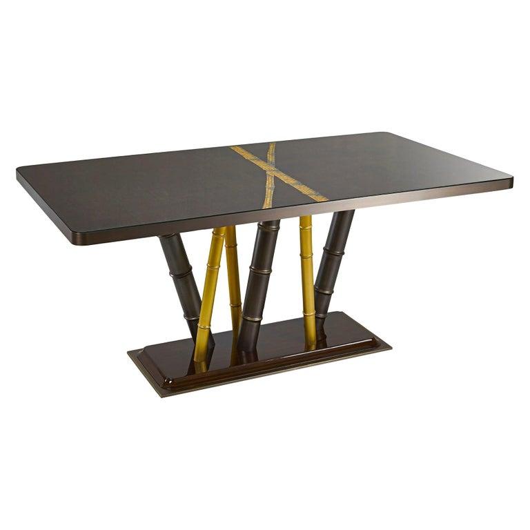 Table Bronze Leaf Glass Top Decorative Mosaic Insert Brass Legs Glossy Ebony For Sale