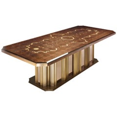 Table Bronzed Brass & Amber Mirror Bronze Leaf Glass with Decorative Mosaic Top