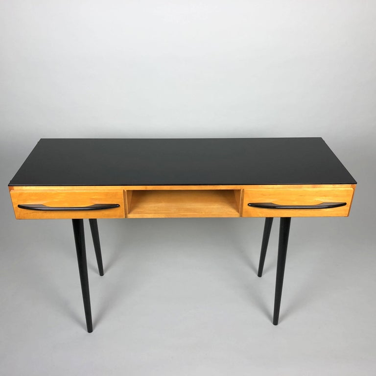 Vintage console table or writing desk designed by Architekt Mojmir Pozar in Czechoslovakia in the 1960s. Good original condition. The table top is made of opaxite glass. Wooden parts are re-polished.