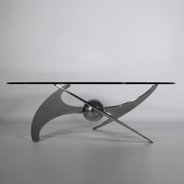 Table by Luciano Campanini Chromed Metal Glass Vintage, Italy, 1970s For Sale 5