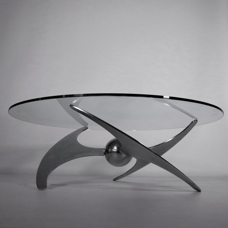 Mid-Century Modern Table by Luciano Campanini Chromed Metal Glass Vintage, Italy, 1970s For Sale