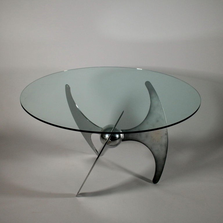 Italian Table by Luciano Campanini Chromed Metal Glass Vintage, Italy, 1970s For Sale