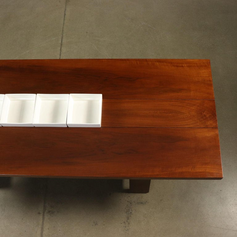 Ceramic Table by Silvio Coppola Solid Wood Vintage Italy, 1960s-1970s For Sale