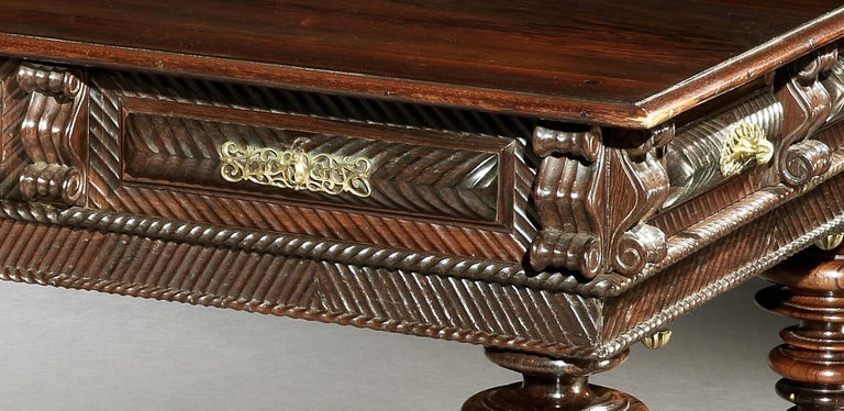 Turned Table, Centre, Library, Desk, 17 Century, Portuguese, Baroque, Brazil, Rosewood For Sale